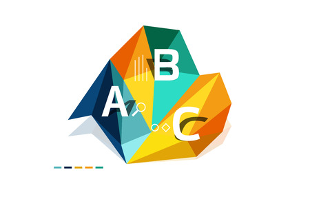 digital library: ABC infographics vector, geometric low poly abstract design Illustration