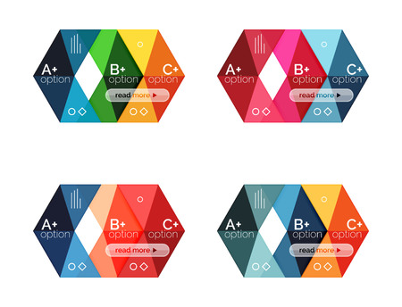 Vector collection of colorful geometric shape infographic banners. Backgrounds for workflow layout, diagram, number options or web design