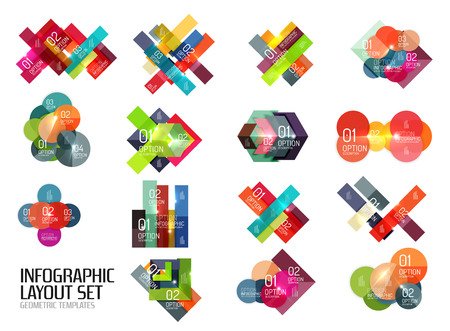 Set of vector buiness infographics templates for workflow layouts, diagrams, number options or web design Stock Photo