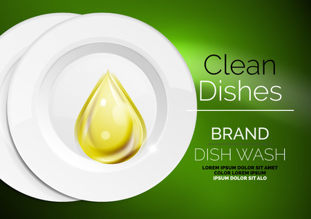 Vector kitchen dish wash drop on ceramic plate. Soap for plates ads templates Illustration
