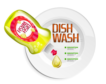dishwashing liquid: Vector kitchen dish wash ad product package