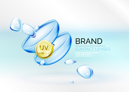 moisturizing: Vector eye contacts lenses ad template