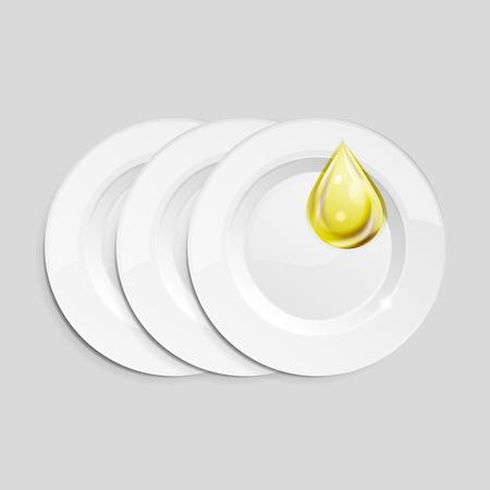 dishwashing liquid: Vector kitchen dish wash drop on ceramic plates