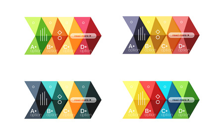 green arrow: Vector collection of colorful geometric shape infographic banners Illustration