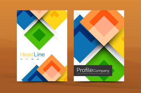 connection block: Set of front and back a4 size pages, business annual report design templates