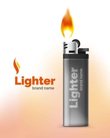 gas lighter: Vector lighter ad template with orange blaze