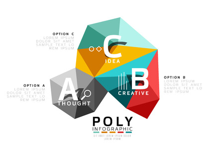 Abstract triangle low poly infographic template
