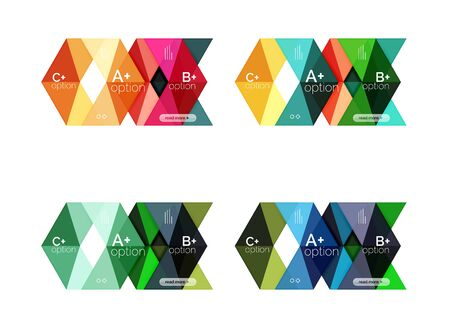 Set of color abstract arrow option infographic templates
