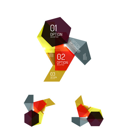 Set of abstract geometric paper graphic layouts Illustration
