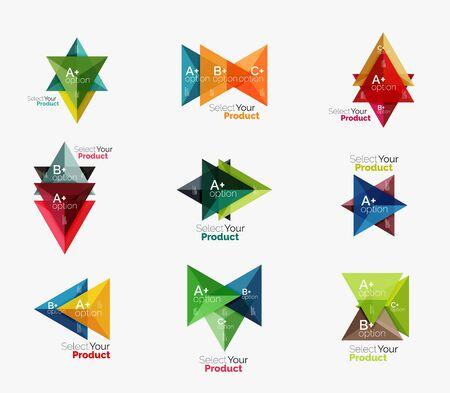 Set of triangle infographic layouts with text and options