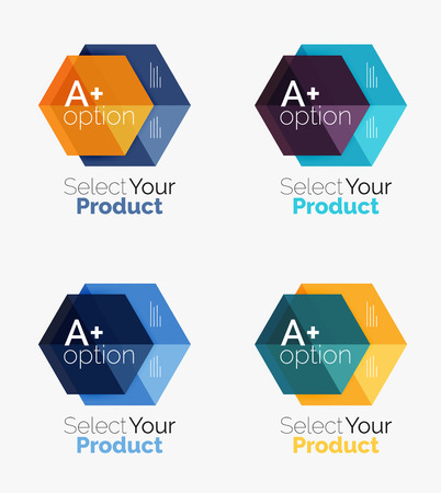 placeholder: Set of abstract geometric hexagon design with options and text Illustration