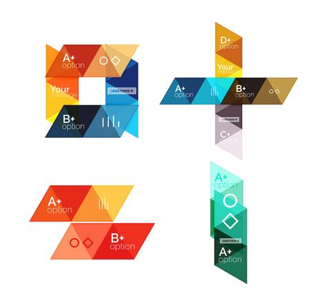 versions: Set of vector triangle geometric infographic Illustration