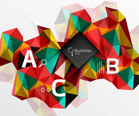 Mosaic low poly abstract background with infographics