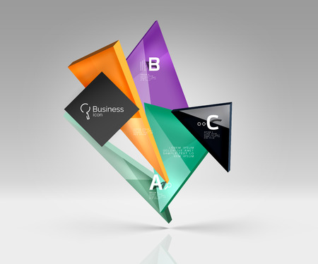 keen: Vector glass triangles composition on grey 3d background