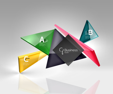 Colorful glossy glass triangle on empty 3d space