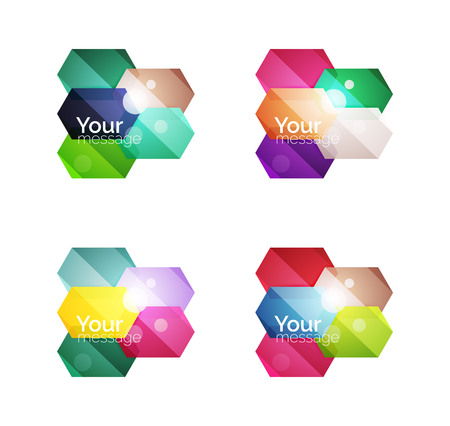 Set of vector shiny blank boxes for your content. Abstract geometric elements suitable for text or infographics Vectores