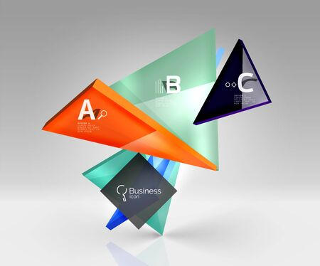 abcd: Colorful glossy glass triangle on empty 3d space