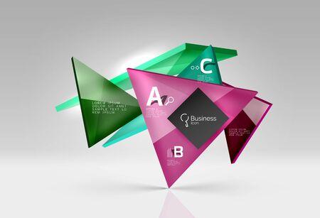 figuras abstractas: composición del vidrio del vector triángulos sobre fondo gris 3d