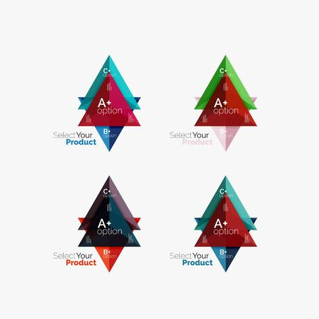 Set of triangle geometric business infographic templates