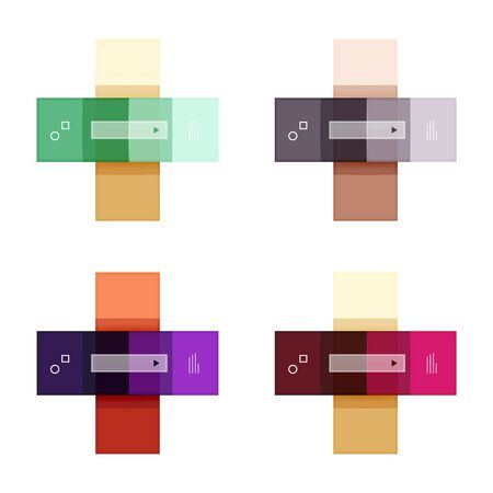 folded paper: Colorful stripes infographic templates set Illustration