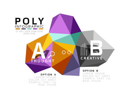 color mixing: Abstract triangle low poly infographic template