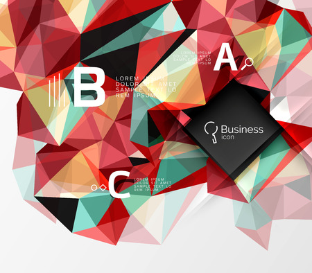 Polygonal triangle abstract background with infographics