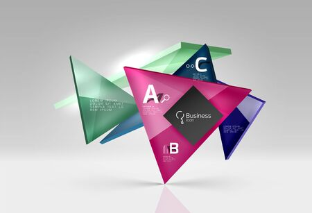 pointed arrows: Vector glass triangles composition on grey 3d background