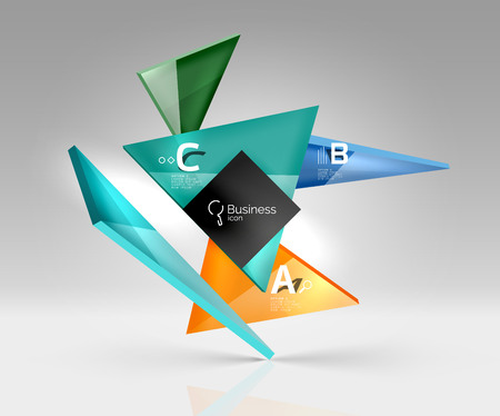 keen: Vector glass triangles composition on grey 3d background. Abstract background for workflow layout, diagram, number options or web design Illustration