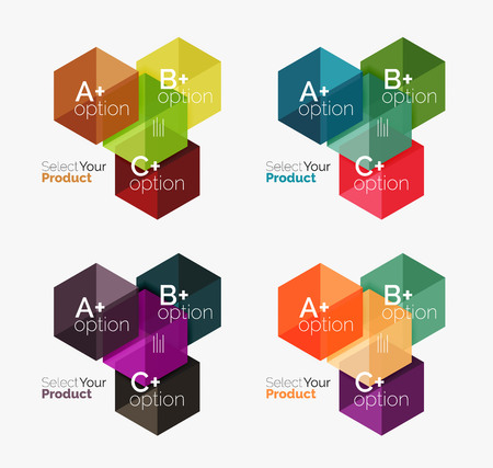 Set of abstract geometric hexagon design with options and text Illustration