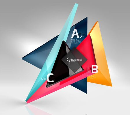 crystal button: Colorful glossy glass triangle on empty 3d space