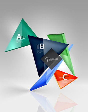 Glossy glass translucent triangles on 3d empty space