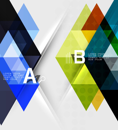 Triangle geometric infographic banner. Vector template background for workflow layout, diagram, number options or web design