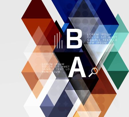 Transparent triangle tiles banner. Vector template background for workflow layout, diagram, number options or web design Illustration