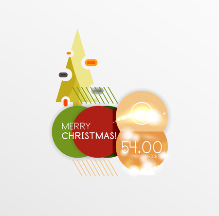 Christmas sale stickers with sample promo text Illustration