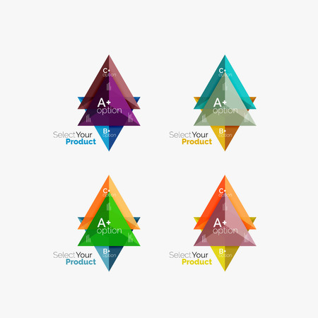 Set of triangle option infographic layouts