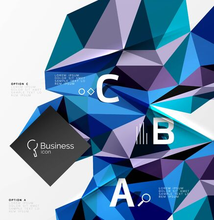 Low poly polygonal triangle abstract background for abc infographics Illustration