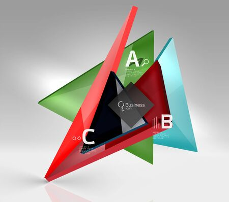 3d triangle modern composition. Vector template background for workflow layout, diagram, number options or web design