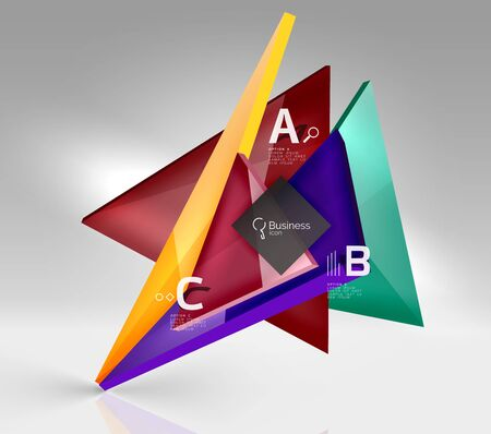 Colorful glossy glass triangle on empty 3d space. Vector template background for workflow layout, diagram, number options or web design