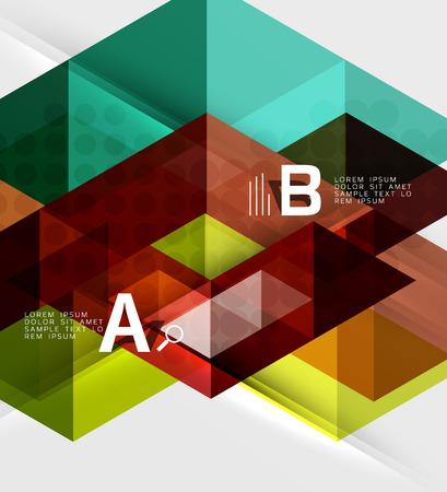 Transparent triangle tiles banner. Vector template background for workflow layout, diagram, number options or web design Illustration