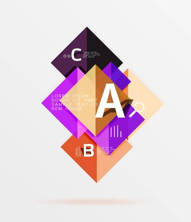 Square banner. Vector template background for workflow layout, diagram, number options or web design Illustration