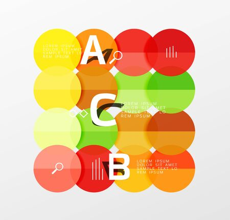 Colorful glossy circle infographics. Vector template background for workflow layout, diagram, number options or web design