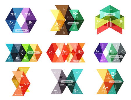 Vector collection of colorful geometric shape infographic banners Illustration