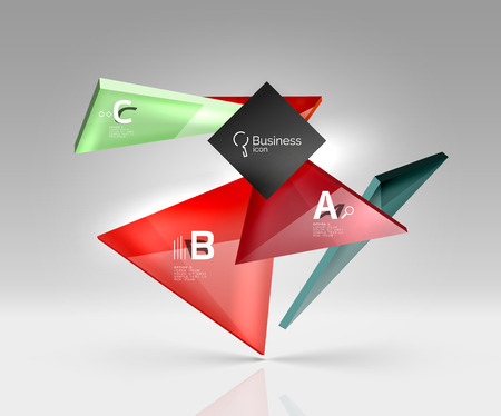 Vector glass triangles composition on grey 3d background