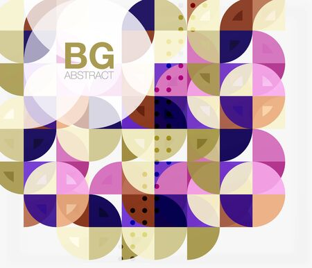 Colorful circles modern abstract composition with text. Geometric background