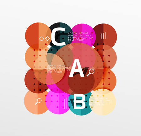 ellipse: Vector circle bubbles modern geometric background with option letter design. Vector template background for workflow layout, diagram, number options or web design