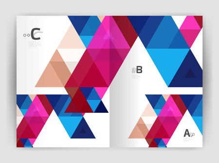 Modern business brochure or leaflet print A4 cover template. Abstract background with color triangles. Vector design for workflow layout, diagram, number options or web design