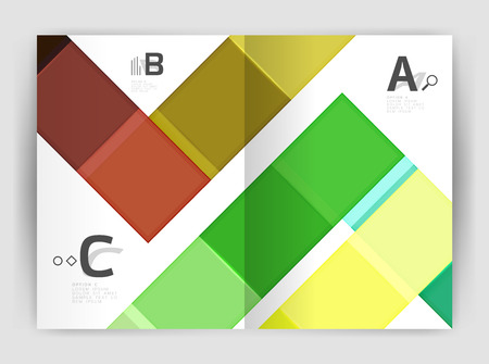 Vector modern geometrical a4 flyer brochure template, annual report print template with infographics abc options