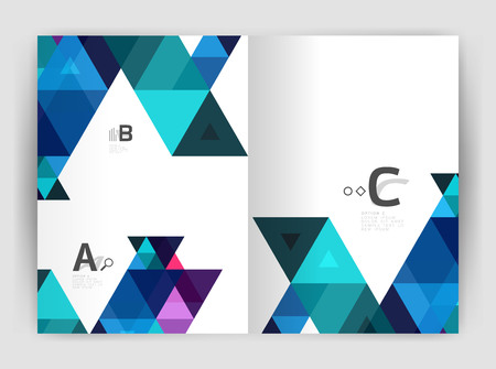 Abstract background with color triangles, annual report print backdrop. Vector design for workflow layout, diagram, number options or web design Vectores