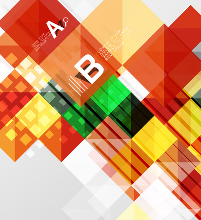 textural: Modern geometrical abstract background, squares with infographics sample text