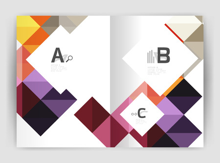 Vector square leaflet, business a4 print template. Vector template background for print workflow layout, diagram, number options or web design banner Vettoriali
